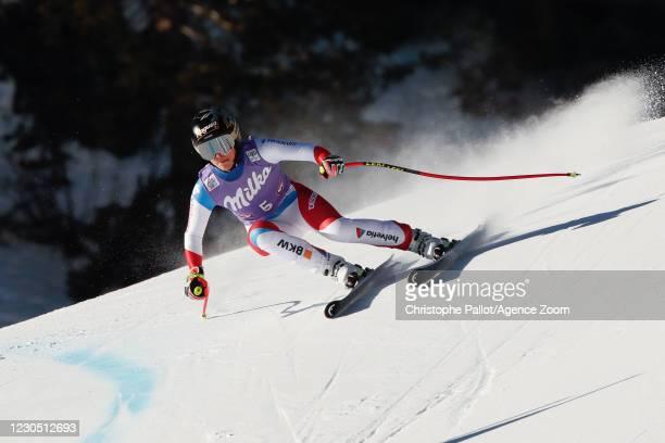 Lara Gut-behrami of Switzerland in action during the Audi FIS Alpine Ski World Cup Women's Super Giant Slalom on January 10, 2021 in ST ANTON Austria.