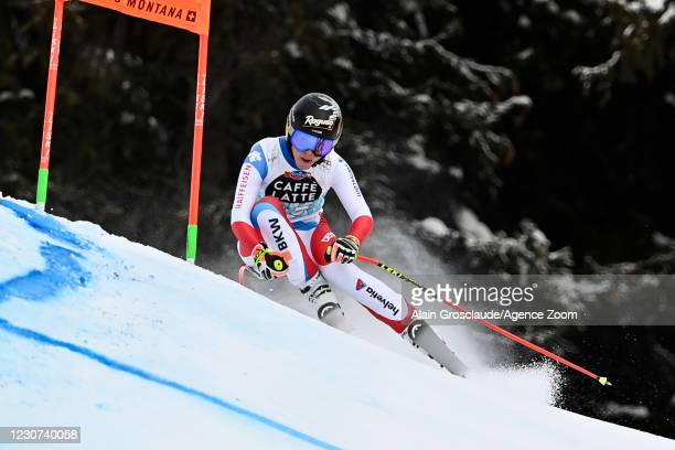 Lara Gut-behrami of Switzerland in action during the Audi FIS Alpine Ski World Cup Women's Downhill on January 23, 2021 in Crans Montana Switzerland.