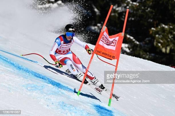 Lara Gut-behrami of Switzerland in action during the Audi FIS Alpine Ski World Cup Women's Super G on January 24, 2021 in Crans Montana Switzerland.