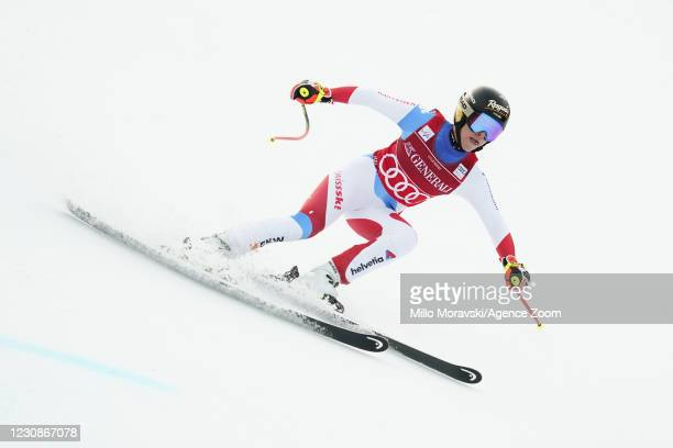 Lara Gut-behrami of Switzerland in action during the Audi FIS Alpine Ski World Cup Super Giant Slalom January 30, 2021 in Garmisch-Partenkirchen,...