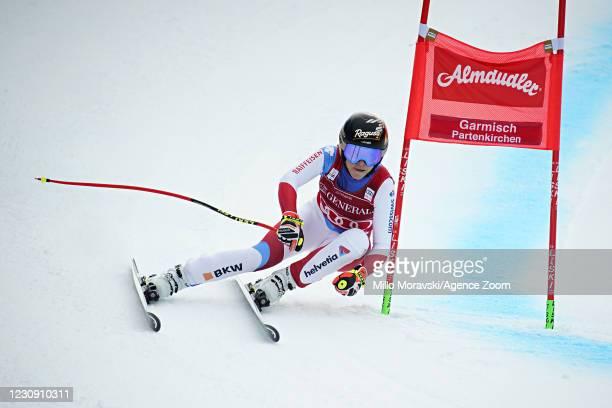 Lara Gut-behrami of Switzerland in action during the Audi FIS Alpine Ski World Cup Women's Super Giant Slalom on February 01, 2021 in Garmisch...