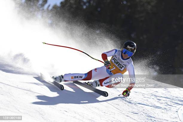 Lara Gut-behrami of Switzerland in action during the Audi FIS Alpine Ski World Cup Women's Downhill on February 26, 2021 in Val di Fassa, Italy.