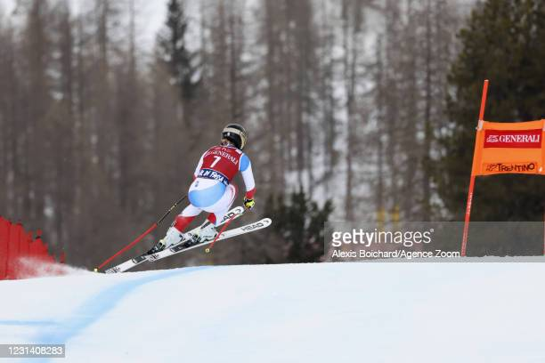 Lara Gut-behrami of Switzerland in action during the Audi FIS Alpine Ski World Cup Women's Downhill on February 27, 2021 in Val di Fassa, Italy.