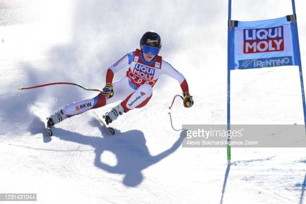 Lara Gut-behrami of Switzerland in action during the Audi FIS Alpine Ski World Cup Women's Super Giant Slalom on February 28, 2021 in Val di Fassa,...