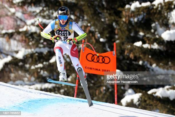 Lara Gut-Behrami of Switzerland in action during the FIS World Ski Championships Women's Downhill Training on February 12, 2021 in Cortina d'Ampezzo,...