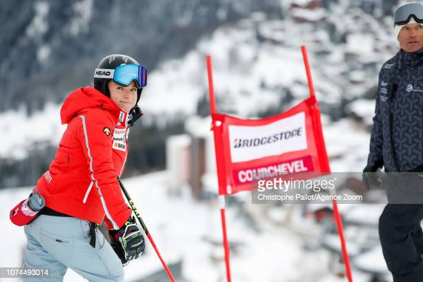 Lara Gutbehrami of Switzerland inspects the course during the Audi FIS Alpine Ski World Cup Women's Giant Slalom on December 21 2018 in Courchevel...