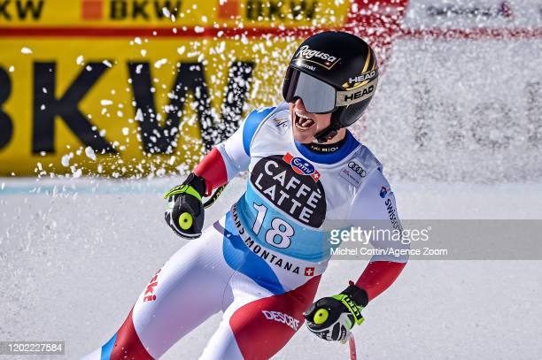 Lara Gutbehrami of Switzerland takes 1st place during the Audi FIS Alpine Ski World Cup Women's Downhill Training on February 21 2019 in Crans...