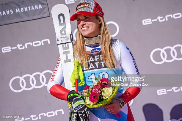Lara Gut-behrami of Switzerland takes 1st place during the Audi FIS Alpine Ski World Cup Women's Downhill Training on February 21, 2019 in Crans...