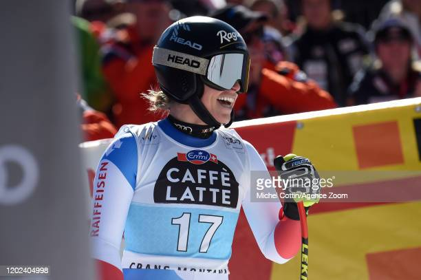 Lara Gut-behrami of Switzerland takes 1st place during the Audi FIS Alpine Ski World Cup Women's Downhill on February 22, 2020 in Crans Montana...