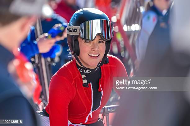 Lara Gutbehrami of Switzerland takes 1st place during the Audi FIS Alpine Ski World Cup Women's Downhill on February 22 2020 in Crans Montana...