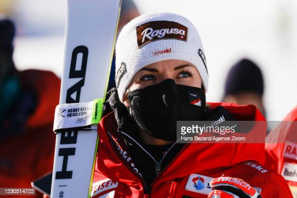 Lara Gut-behrami of Switzerland takes 1st place during the Audi FIS Alpine Ski World Cup Women's Super Giant Slalom on January 10, 2021 in ST ANTON...