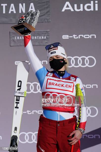 Lara Gut-behrami of Switzerland takes 1st place during the Audi FIS Alpine Ski World Cup Women's Super G on January 24, 2021 in Crans Montana...