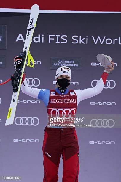 Lara Gut-behrami of Switzerland takes 1st place during the Audi FIS Alpine Ski World Cup Women's Super Giant Slalom on February 01, 2021 in Garmisch...