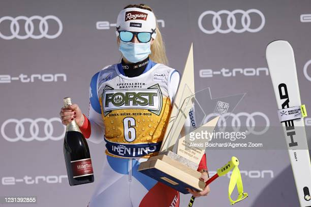 Lara Gut-behrami of Switzerland takes 1st place during the Audi FIS Alpine Ski World Cup Women's Downhill on February 26, 2021 in Val di Fassa, Italy.