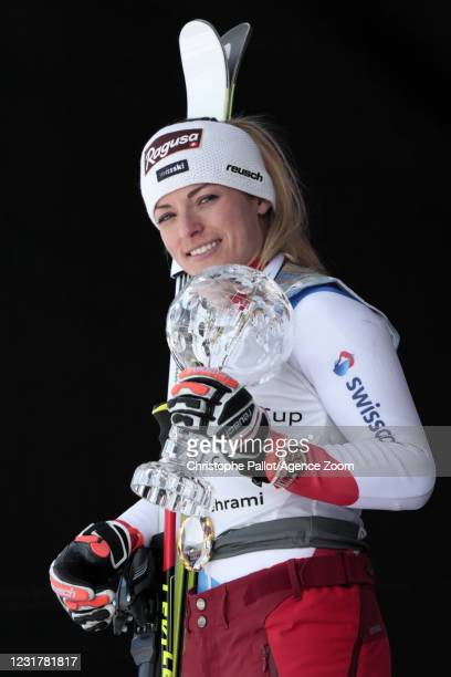 Lara Gut-behrami of Switzerland takes 1st place in the overall standings during the Audi FIS Alpine Ski World Cup Women's Super Giant Slalom on March...