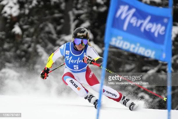 Lara Gut-behrami of Switzerland takes 2nd place during the Audi FIS Alpine Ski World Cup Men's Giant Slalom on January 26, 2021 in Kronplatz Italy.