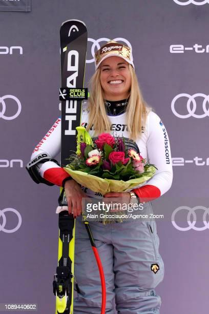 Lara Gut-behrami of Switzerland takes 3rd place during the Audi FIS Alpine Ski World Cup Women's Super G on January 26, 2019 in Garmisch...