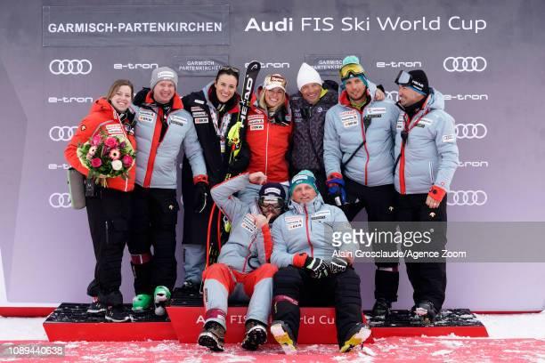 Lara Gutbehrami of Switzerland takes 3rd place during the Audi FIS Alpine Ski World Cup Women's Super G on January 26 2019 in Garmisch Partenkirchen...