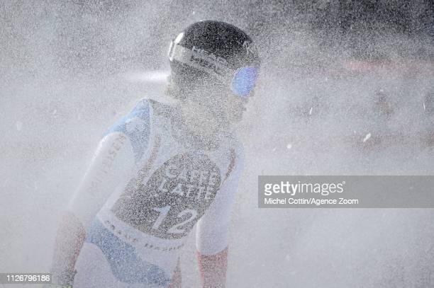 Lara Gutbehrami of Switzerland takes 3rd place during the Audi FIS Alpine Ski World Cup Women's Downhill on February 23 2019 in Crans Montana...