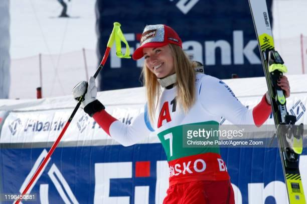 Lara Gut-behrami of Switzerland takes 3rd place during the Audi FIS Alpine Ski World Cup Women's Super G on January 26, 2020 in Bansko Bulgaria.