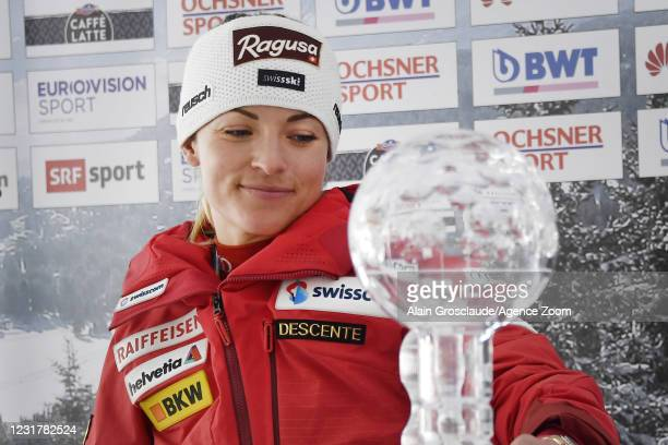 Lara Gut-behrami of Switzerland wins the globe in the overall standings during the Audi FIS Alpine Ski World Cup Women's Super Giant Slalom on March...
