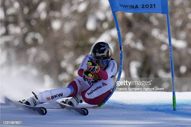 Lara Gut-behrami of Switzerland wins the gold medal during the FIS Alpine Ski World Championships Women's Super Giant Slalom on February 11, 2021 in...