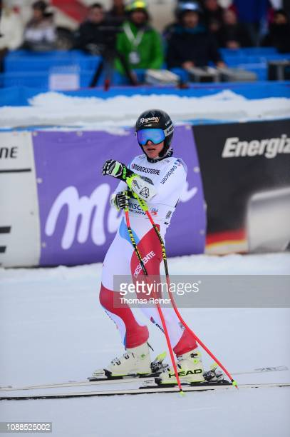 Lara GutBehrami of Swtzerland competes in the second run of the 20190125 Audi FIS Alpine Ski World Cup Women's Downhill Training on January 25 2019...