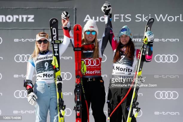 Lara Gut-behrami takes 2nd place, Mikaela Shiffrin of USA takes 1st place, Tina Weirather of Liechtenstein takes 3rd place during the Audi FIS Alpine...