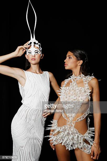 Lara Helmer and another model are seen backstage ahead of the 3D Fashion Presented By Lexus show during Platform Fashion July 2016 at Areal Boehler...