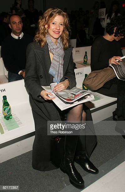 Lara Hughes editor at Elite Travler attends the Jeffrey Chow Fall 2005 fashion show during the Olympus Fashion Week at Bryant Park February 10 2005...