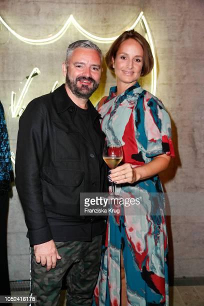 Lara Joy Koerner and fashion designer Adrian Runhof attend the Dom Perignon 'The Legacy' on October 17 2018 in Munich Germany