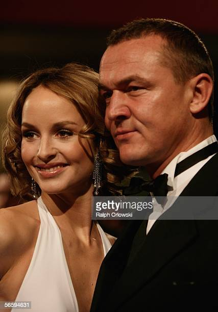 Lara Joy Koerner and Heiner Pollert arrive for the 33rd annual German Filmball at the Bayrische Hof Hotel on January 14 2006 in Munich Germany