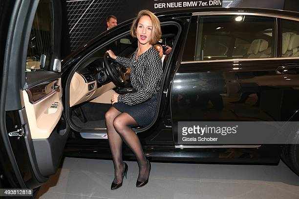 Lara Joy Koerner sits in the 7er BMW during the presentation of the new BMW 7 Series on October 22 2015 in Munich Germany