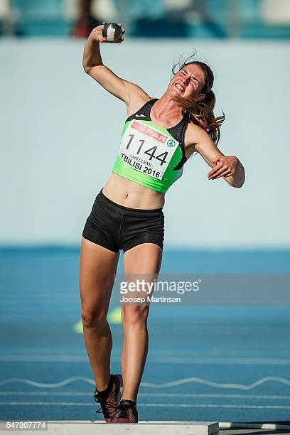 Lara Krnc of Slovenia competes in the Girls Heptathlon Shot Put during European Athletics Youth Championships on July 14 2016 in Tbilisi Georgia