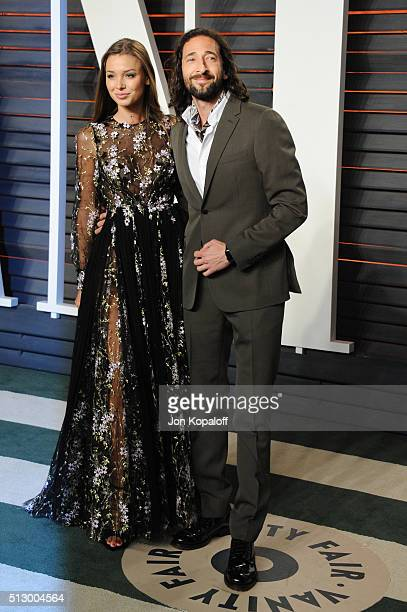 Lara Leito and actor Adrien Brody attend the 2016 Vanity Fair Oscar Party hosted By Graydon Carter at Wallis Annenberg Center for the Performing Arts...