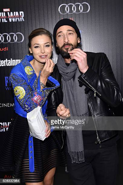 Lara Leito and Adrien Brody attend the screening Of Marvel's 'Captain America Civil War' hosted by The Cinema Society with Audi FIJI at Henry R Luce...