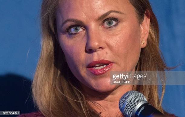 Lara Logan chief foreign affairs correspondent for CBS News speaks prior to presenting Father Patrick Desbois with the Lantos Human Rights Prize...