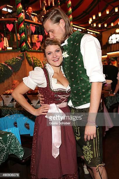 Lara Mandoki and her boyfriend Timm Lindemann attend the 'Wiesn-Gipfel' during the Oktoberfest 2015 at Marstall / Theresienwiese on Oktober 01, 2015...