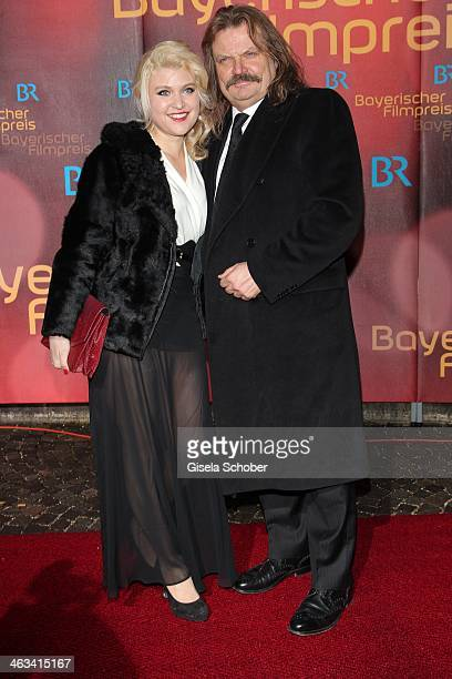 Lara Mandoki and her father Leslie Mandoki attend the Bavarian Film Award 2014 at Prinzregententheater on January 17 2014 in Munich Germany