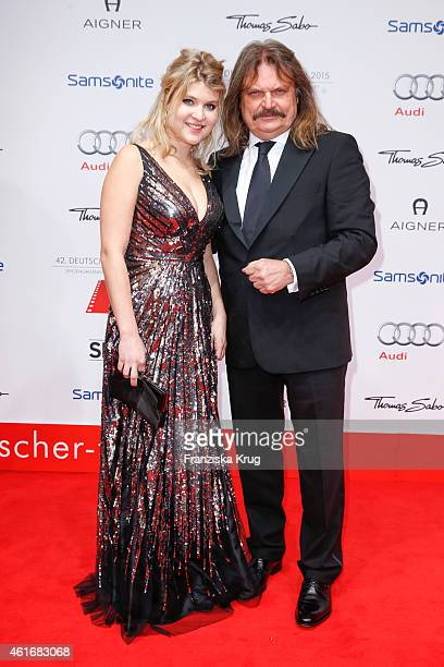 Lara Mandoki and her father Leslie Mandoki attend the German Film Ball 2015 on January 17 2015 in Munich Germany