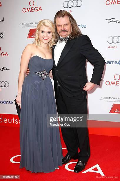 Lara Mandoki and her father Leslie Mandoki attend the German Film Ball 2014 on January 18, 2014 in Munich, Germany.