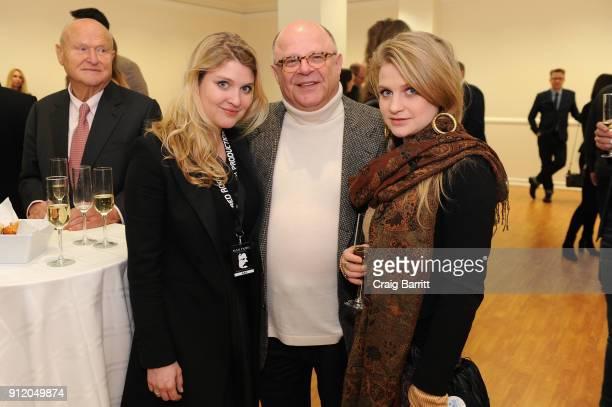 "Lara Mandoki, Joel Katz and Julia Mandoki attend the ManDoki Soulmates ""Wings Of Freedom"" concert after party at the Hungarian Consulate on January..."