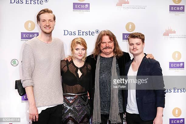 Lara Mandoki, Leslie Mandoki, Gabor Mandoki and guest attend the Echo Award 2016 on April 07, 2016 in Berlin, Germany.