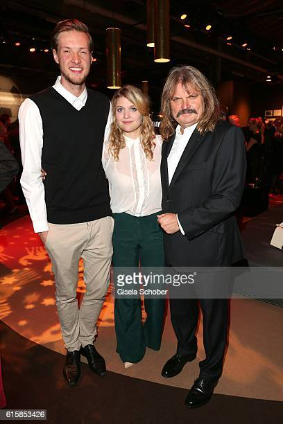 Lara Mandoki with her boyfriend Timm Lindemann and her father Leslie Mandoki during the Tribute To Bambi at Station on October 6 2016 in Berlin...