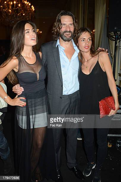 Lara Miceli Frederic Beigbeder and Laura Isaaz attend the Lui Magazine Launch Party at 34 Avenue Foch on September 3 2013 in Paris France