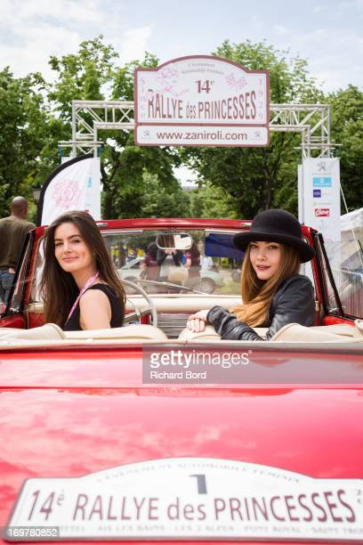 Lara Micheli and Solveig Lizlow pose with a Peugeot 403 as they take part to the 14th Edition of the 'Rallye des Princesses' at Esplanade Des...