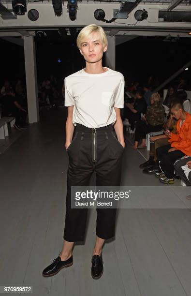 Lara Mullen attends the Alex Mullins show during London Fashion Week Men's June 2018 at the BFC Show Space on June 10 2018 in London England