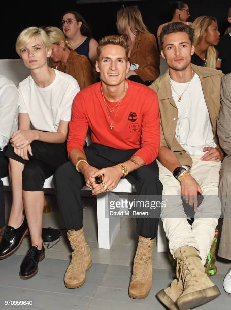 Lara Mullen Oliver Proudlock and Harvey NewtonHaydon attend the Alex Mullins show during London Fashion Week Men's June 2018 at the BFC Show Space on...