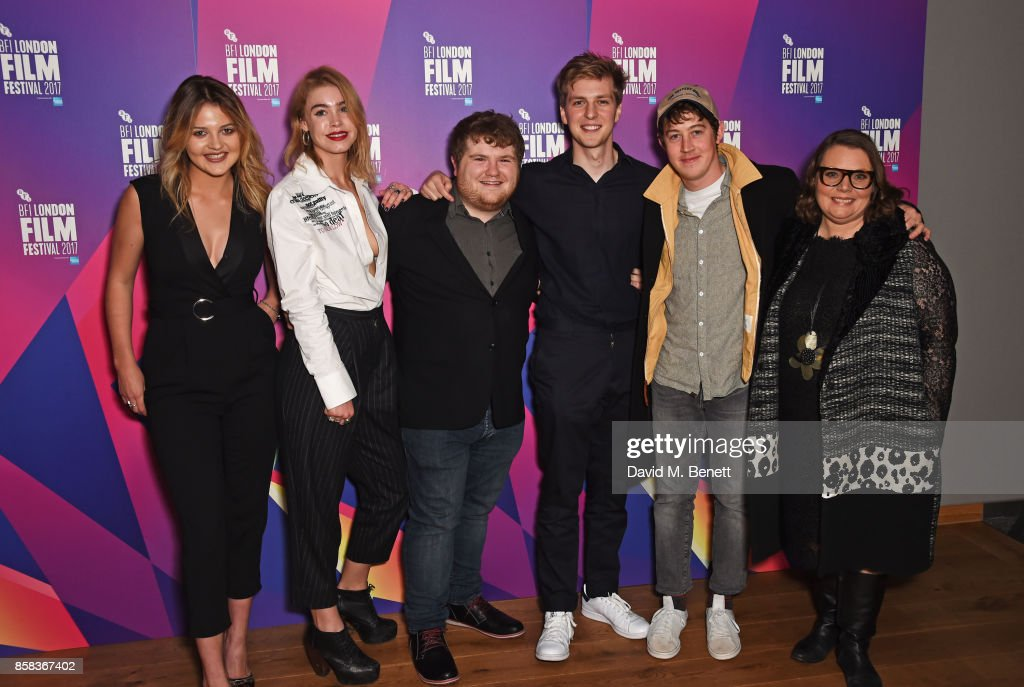 Lara Peake, Alice Sanders, Ethan Lawrence, Abraham Lewis, Alex Sharp and Joanna Scanlan attend a screening of 'How To Talk To Girls At Parties' during the 61st BFI London Film Festival at Vue West End on October 6, 2017 in London, England.