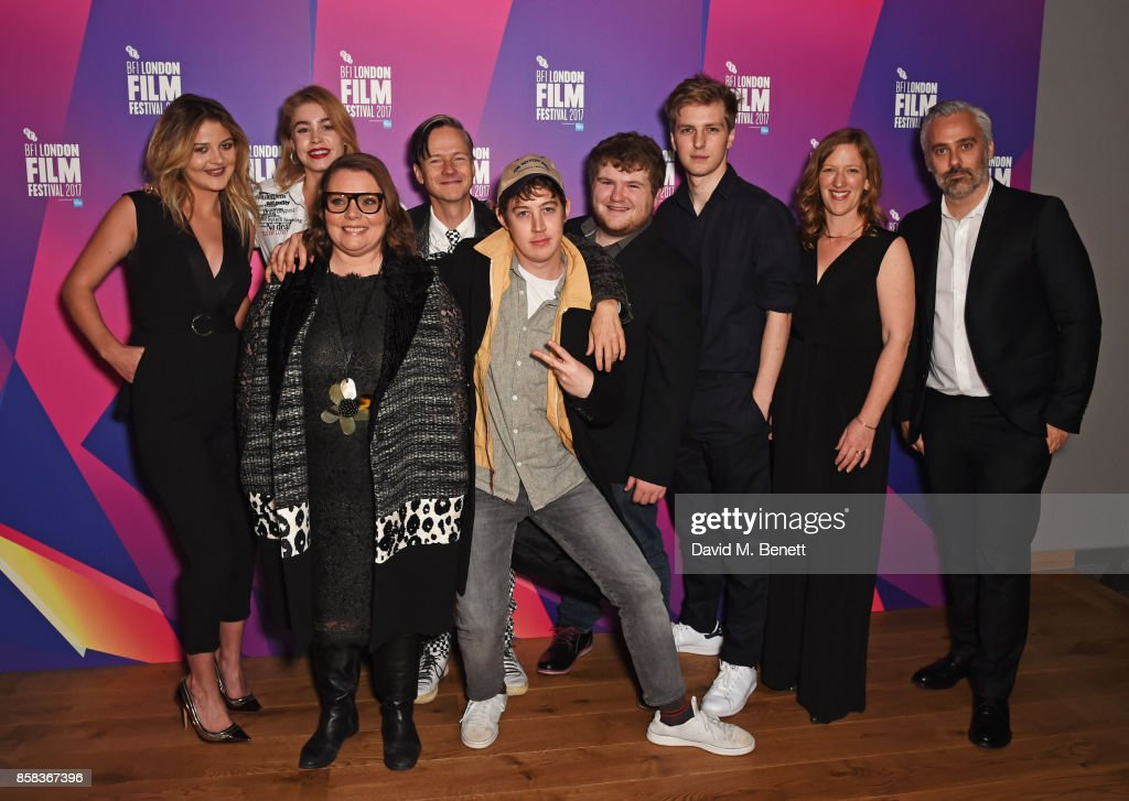 Lara Peake, Alice Sanders, Joanna Scanlan, director John Cameron Mitchell, Alex Sharp, Ethan Lawrence, Abraham Lewis, Philippa Goslett and producer Iain Canning attend a screening of 'How To Talk To Girls At Parties' during the 61st BFI London Film Festival at Vue West End on October 6, 2017 in London, England.